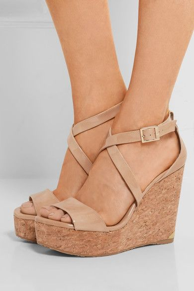Jimmy Choo Portia patent leather wedge sandals   Leather