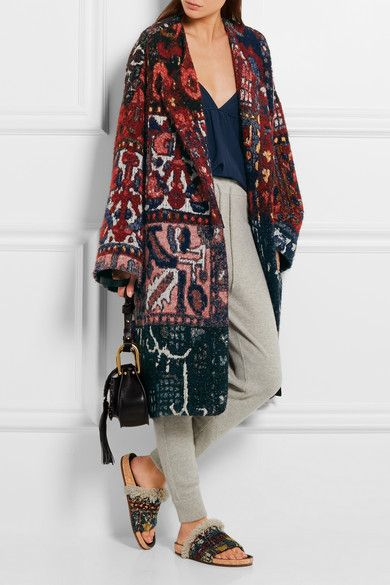 Chloé's coat is woven from bouclé-jacquard designed in rich claret, blue and…