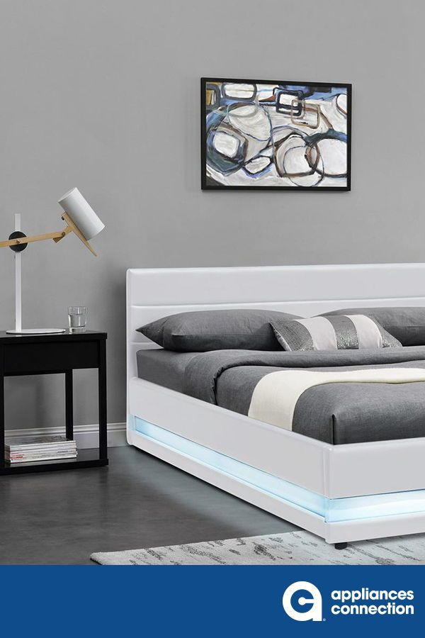 Serene Collection SERENE-KG-WH-21 King Size LED Bed with Low Profile, Panel Headboard and Eco-Leather Upholstery in White  #bedroom #bed #bedroomdesign #homedecor #homeideas #homedesign #bedroomdecor #bedroomideas #decor #walldecor #bedroomfurniture #furnituredesign #furnitureideas #newhomes