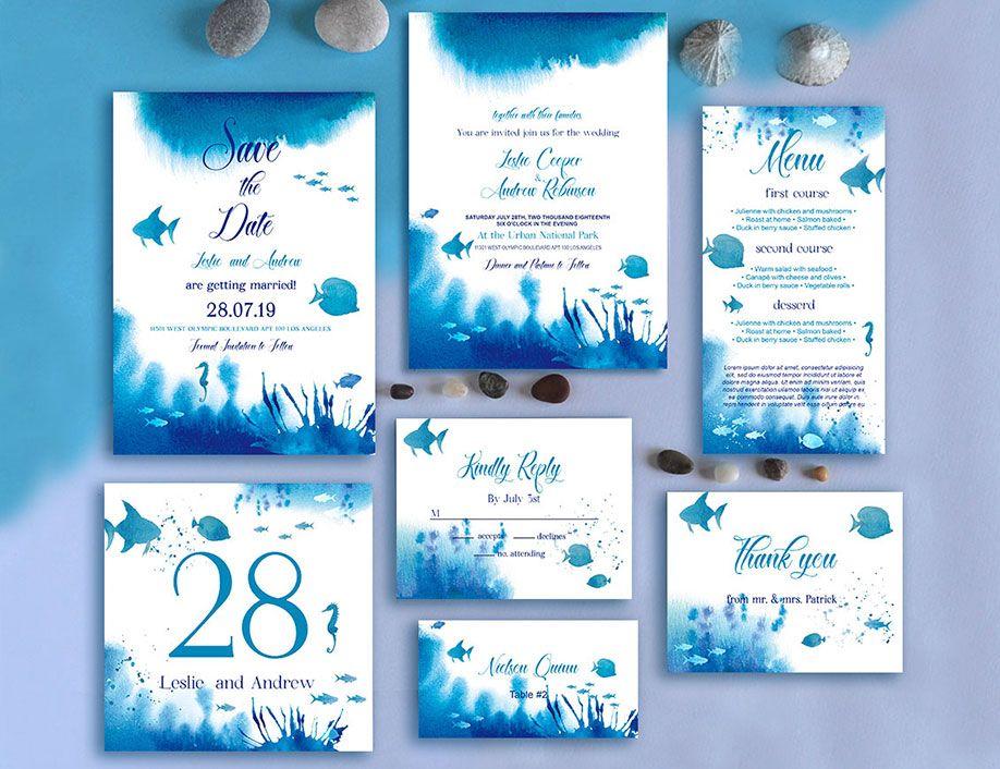 Sea Wedding Theme Free Invitation Template Suite In Psd Wedding Template Free Wedding Templates Wedding Templates Wedding Invitation Templates