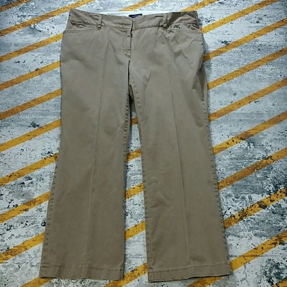 Plus size petite washed out trousers 1014 These are cool! A washed out tan with slight distressing at hems ans stitching give these a lived in look. Wide waist band. Lands end fit 2. Bundle to save! Lands' End Pants Trousers