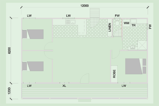 This is the floor plan for the Charlye granny flat