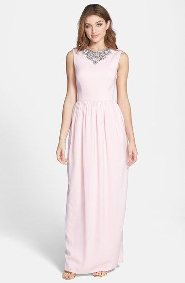 Free shipping and returns on Ted Baker London 'Neliosa' Embellished Crepe Gown at Nordstrom.com. A pale hue tempers the lavish crown of beads decorating a simple full-length gown that pairs a fitted princess-seam bodice with a long straight skirt releasing from a finely shirred waist.