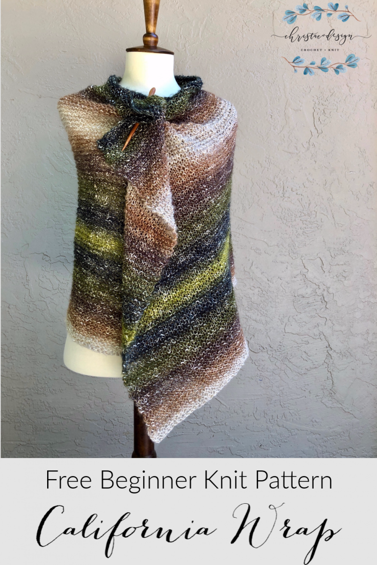 Photo of California Knit Wrap ein kostenloses Strickmuster für Anfänger – ChristaCoDesign