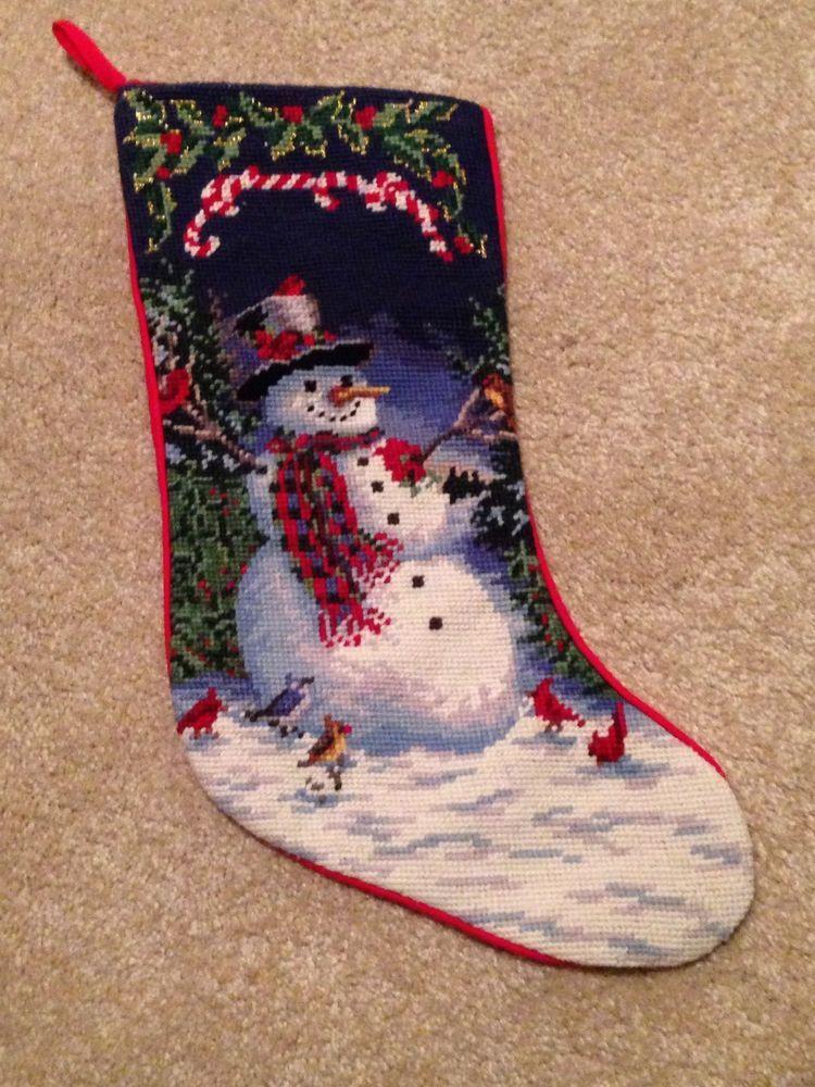 Needlepoint Christmas Stocking Snowman 100 Wool
