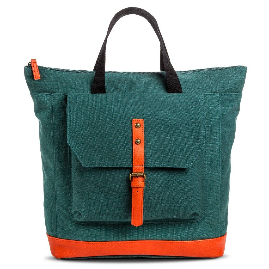 Women S Solid Canvas Backpack Handbag With Neonorange Detail Green Dance Bagsbackpack