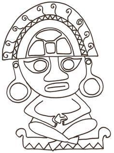 coloriage dun motif mexicain antique : la statuette