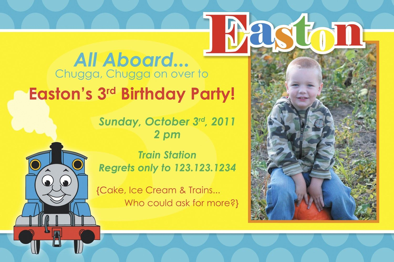 Custom 4x6 Digital Photo Card, Boy Birthday Invite, Thomas the Train ...