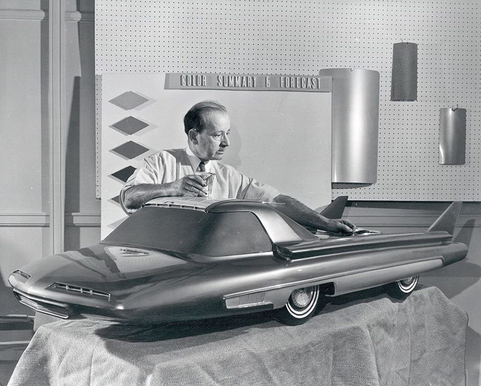 "1950s Ford Nucleon Concept Car You can see the proposed ""atomic engine"" in back."