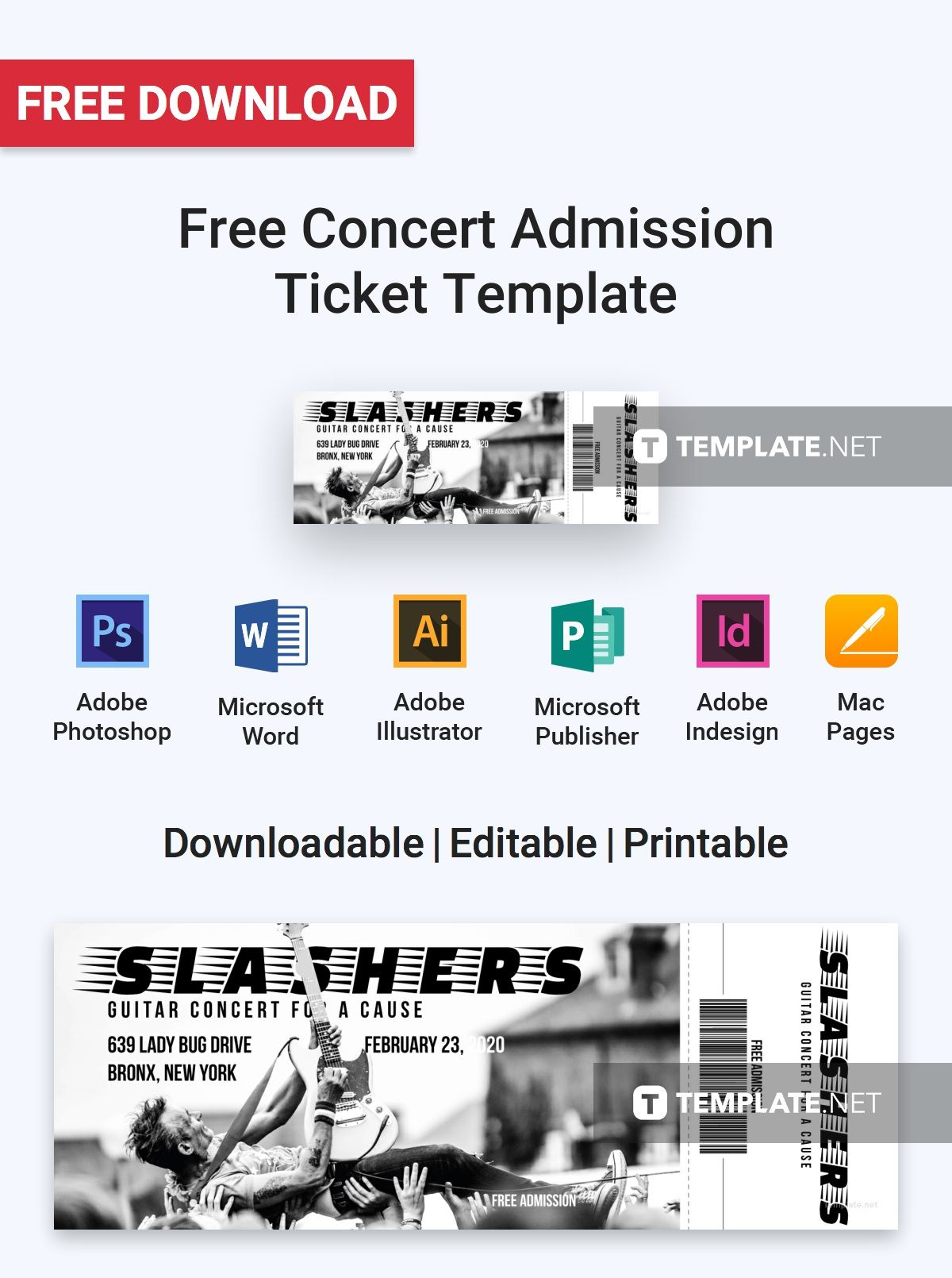Free Concert Ticket Template Free Concert Admission Ticket  Admission Ticket Ticket Template .