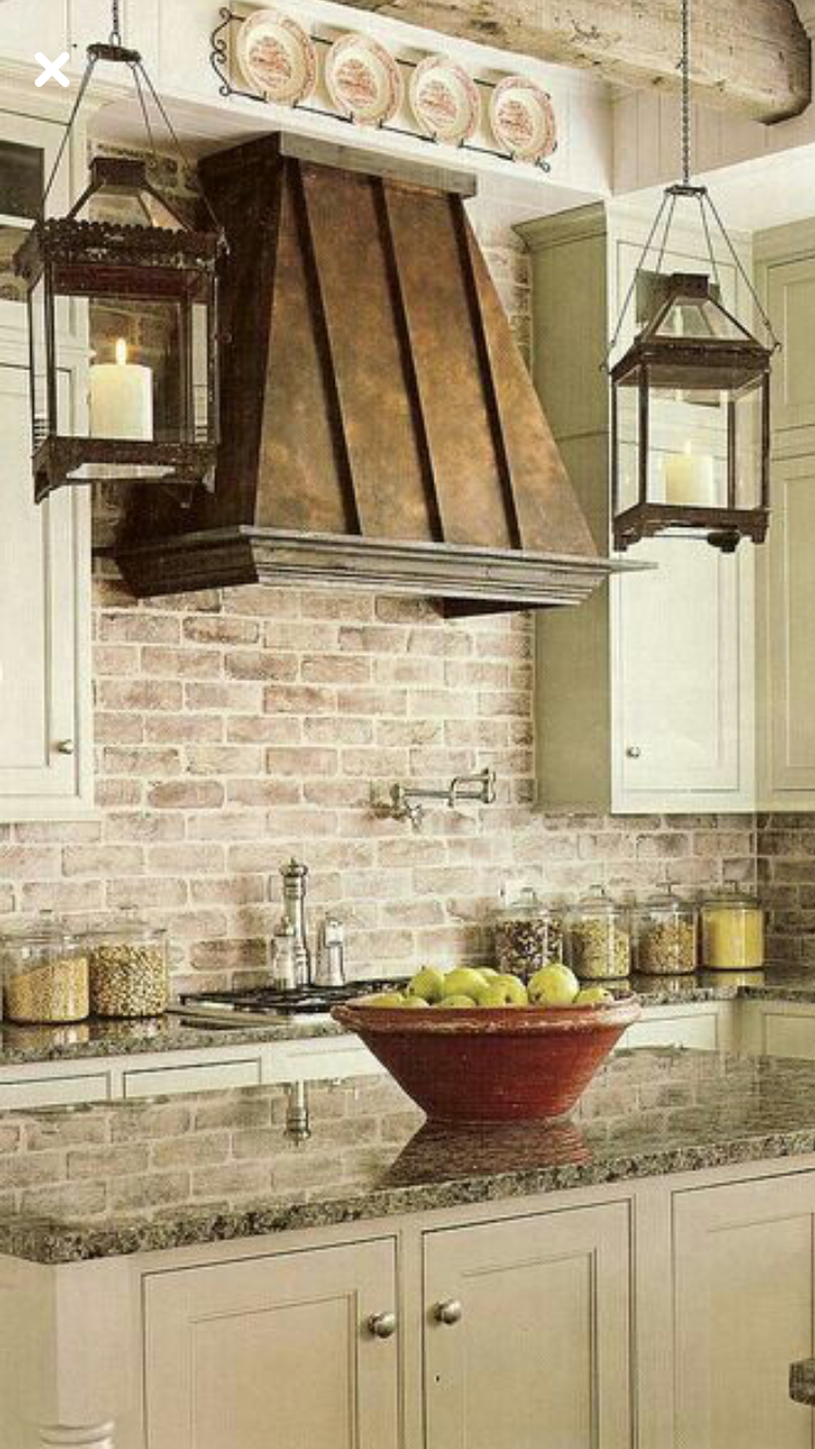 - Love BRICK Backsplash Rustic Kitchen, Kitchen Remodel, Brick Kitchen