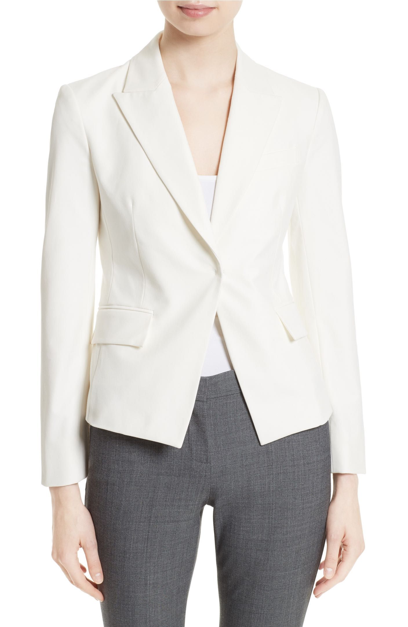 79a2c3b6b8e9 Theory - Brince Approach 2 Jacket in new ivory | Starting in size 00 | A  cutaway front with a hidden-button closure and peak lapels brings a clean,  ...