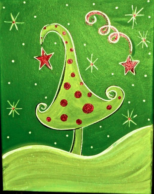 Easy Christmas Tree Painting