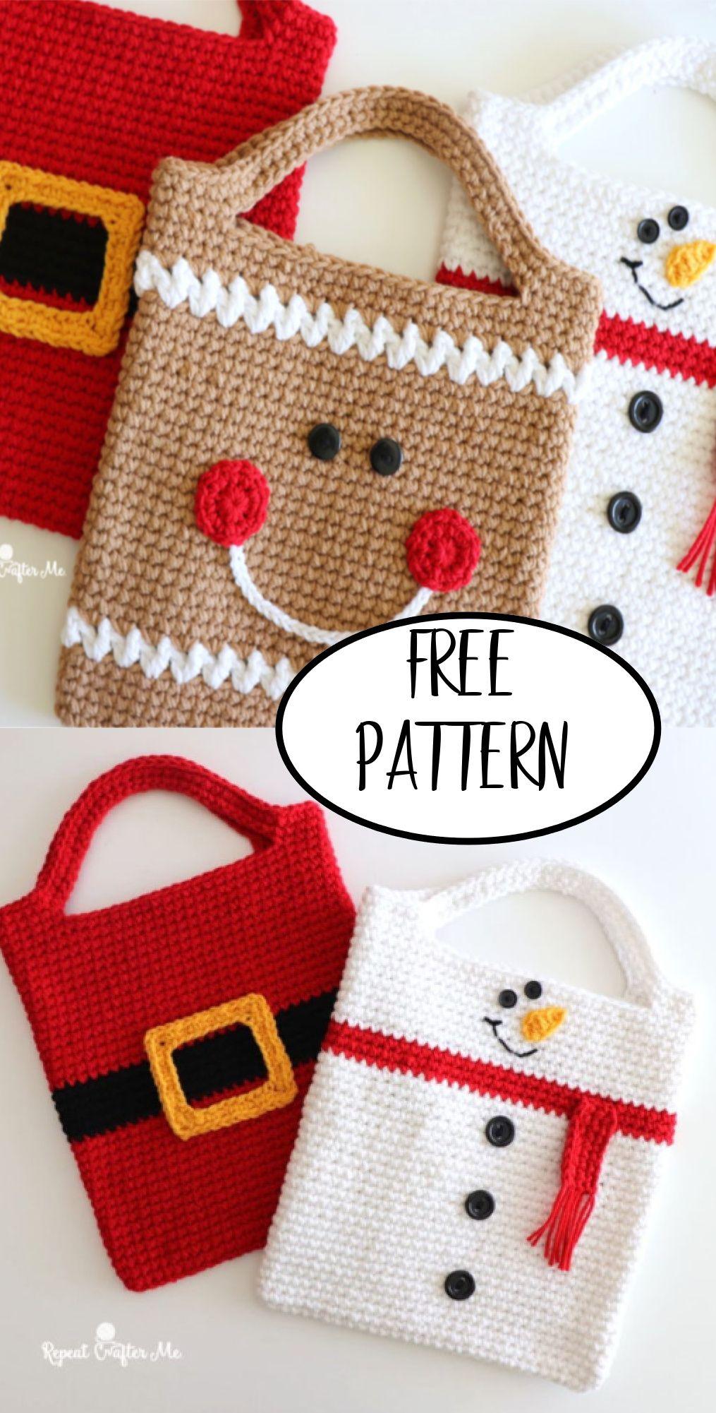 Christmas Tote Bags Free Crochet Pattern Nana S Favorites Christmas Tote Crochet Christmas Gifts Christmas Tote Bags