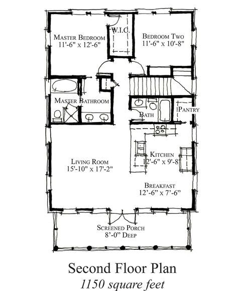 Country Style House Plan - 2 Beds 2 Baths 1150 Sq/Ft Plan #464-16