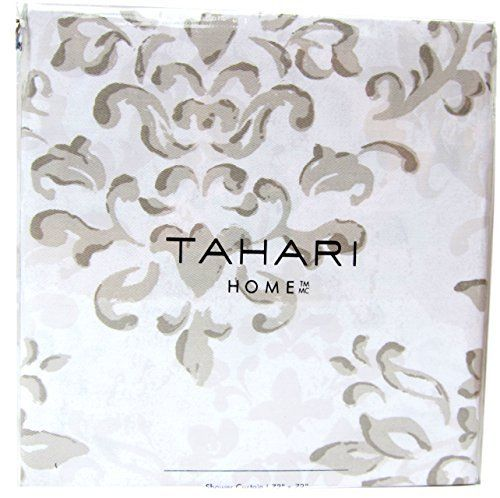Tahari Luxury Cotton Blend Shower Curtain Taupe Gray White Damask ...