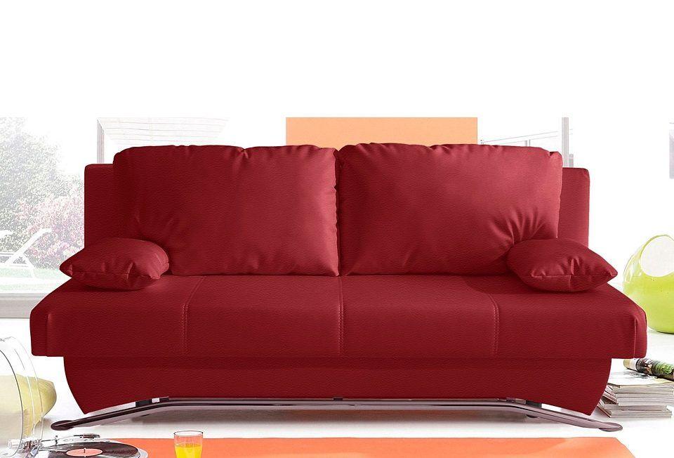 Schlafsofa rot, Mit Federkern, mit Bettkasten, yourhome Jetzt - wohnzimmer rot orange