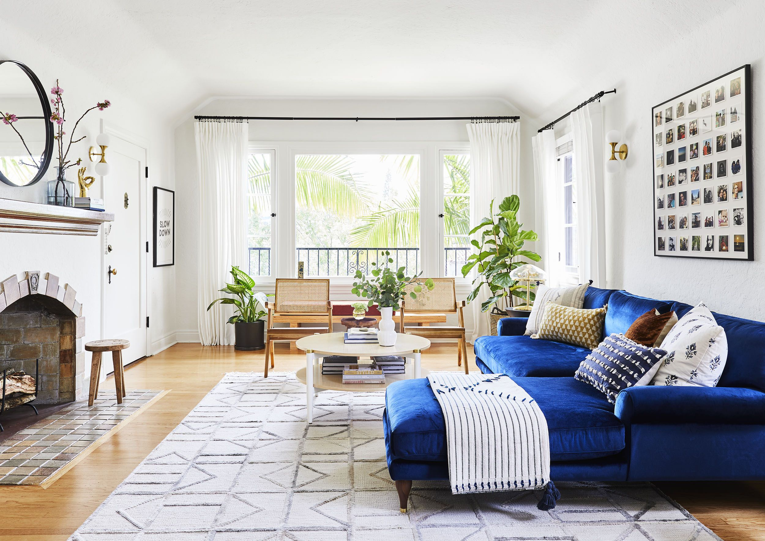 A Light Bright Luxe Living Room Makeover It S A Rental Blue Sofas Living Room Blue Sofa Living Luxe Living Room