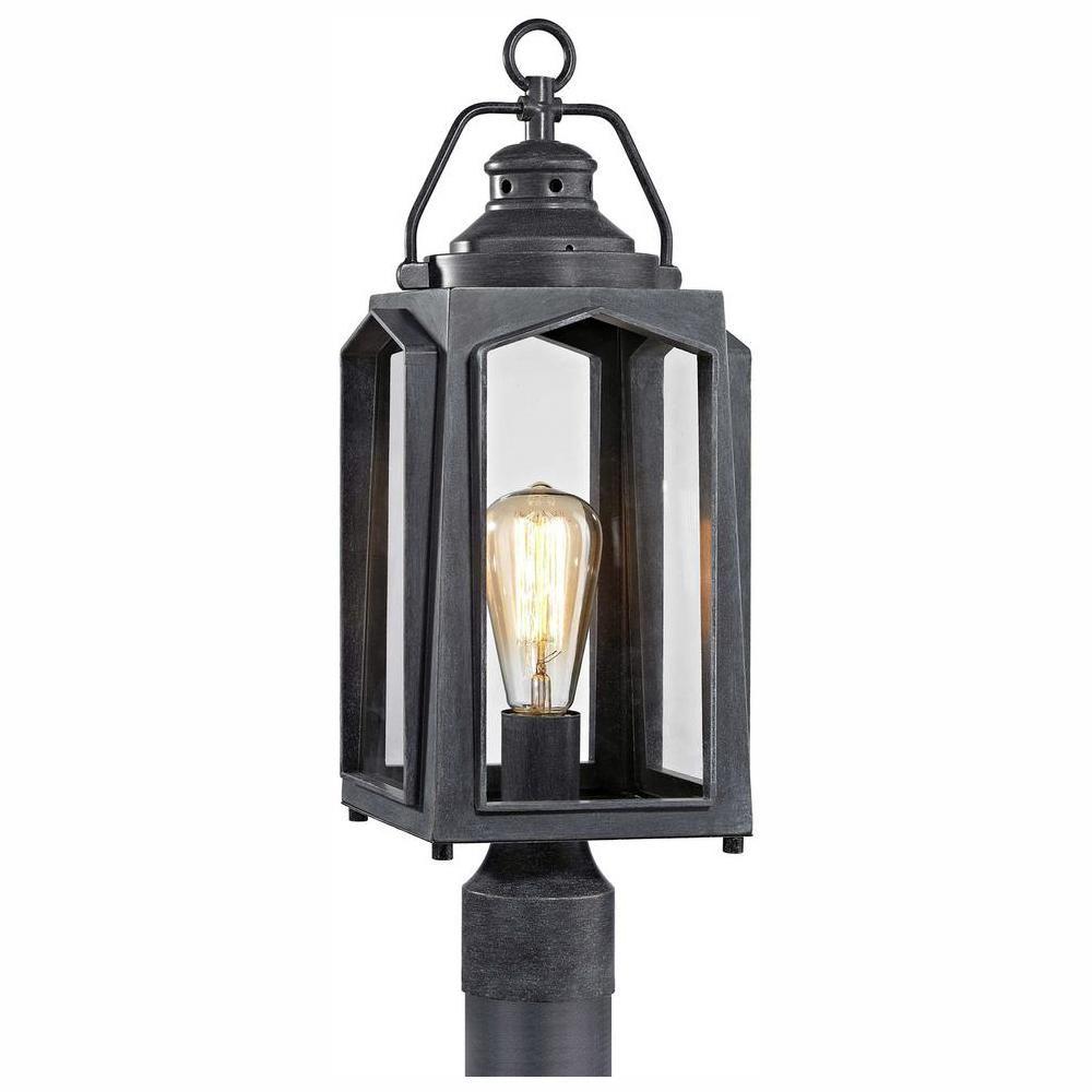 Home Decorators Collection 1 Light Charred Iron Outdoor Post Mount Lantern Lantern Post Lanterns Porch Lighting