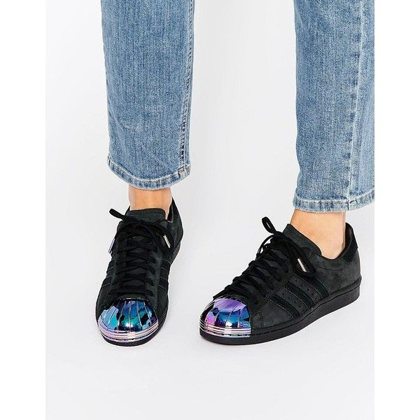 new concept d3891 8bc10 adidas Originals Black Superstar Trainers With Holographic Metal Toe...  ( 145) ❤