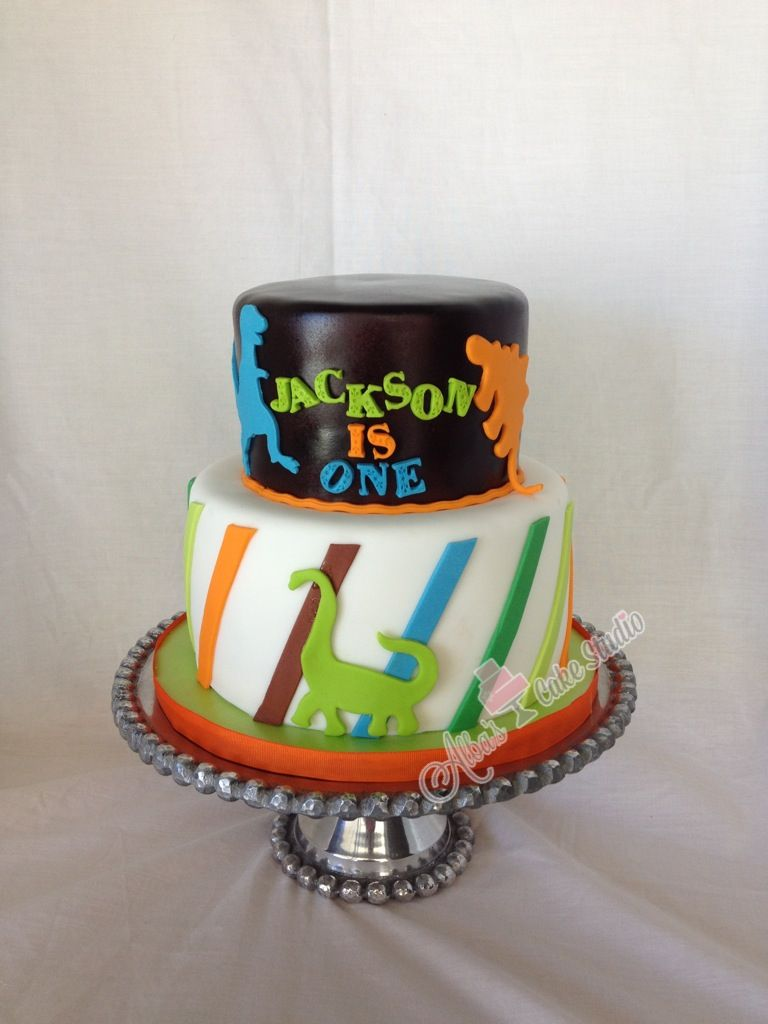 Dinosaur first birthday cake Albas Cake Studio on Facebook and