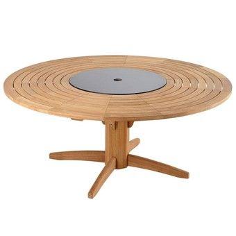 table ronde 180 cm en teck avec plateau tournant | Mobilier ...