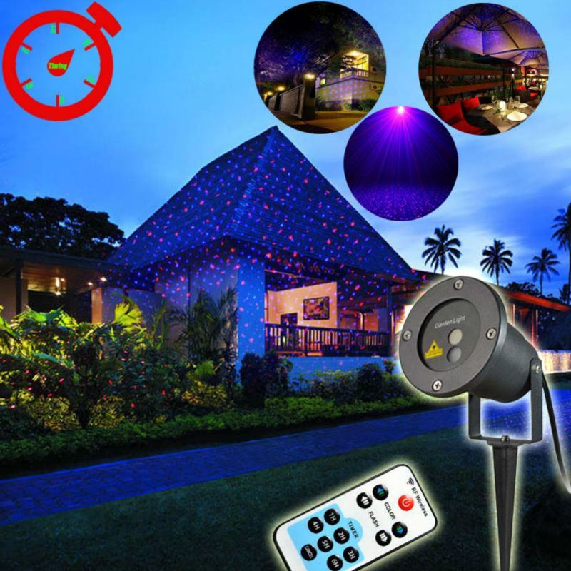 Remote Rotating Projector Red Blue Xmas Landscape Outdoor Lighting