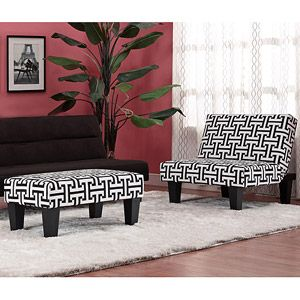 Kebo Chair & Ottoman, Black and White Geometric | Home Decor ...