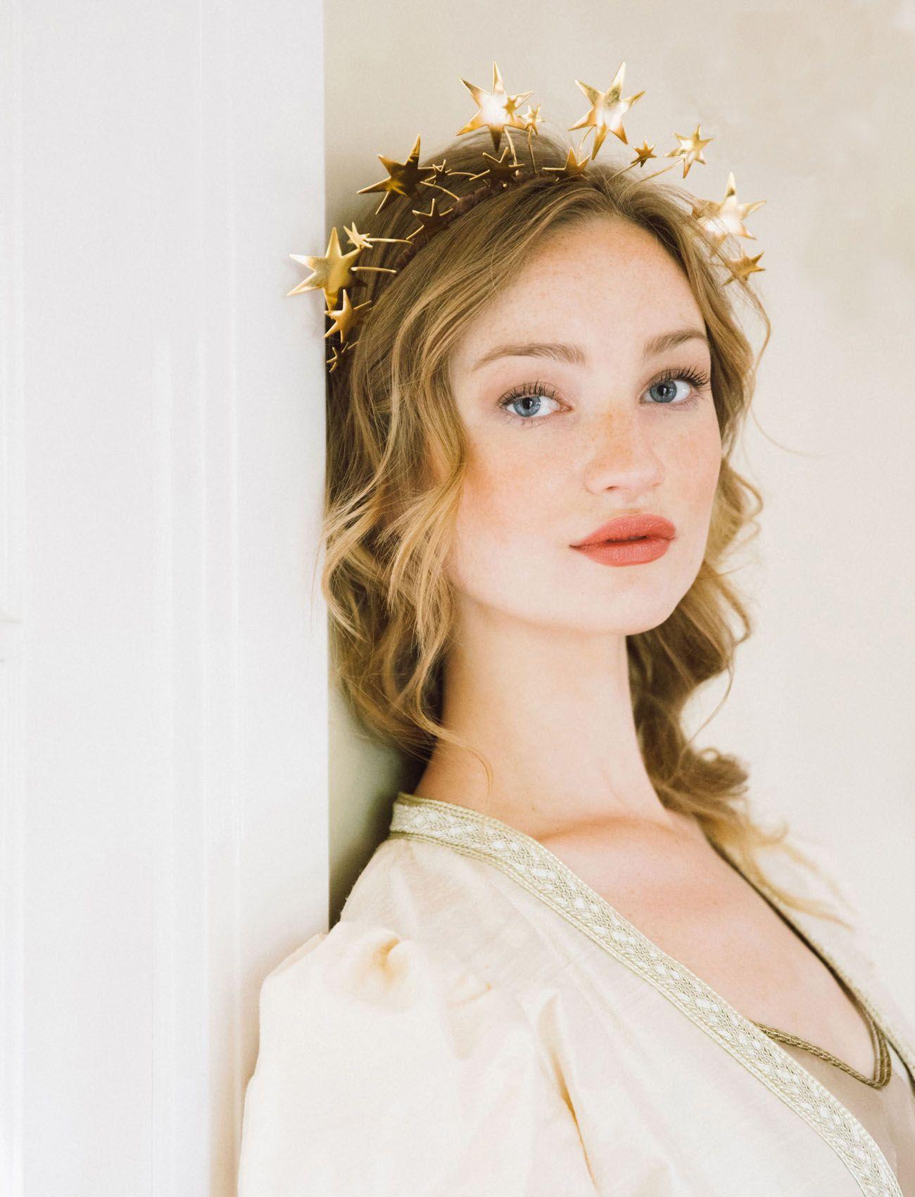 Halo Crown Moon Stars Goddess Crown Halo Headband Bridal Headpiece Tiara Boho Wedding Accessory