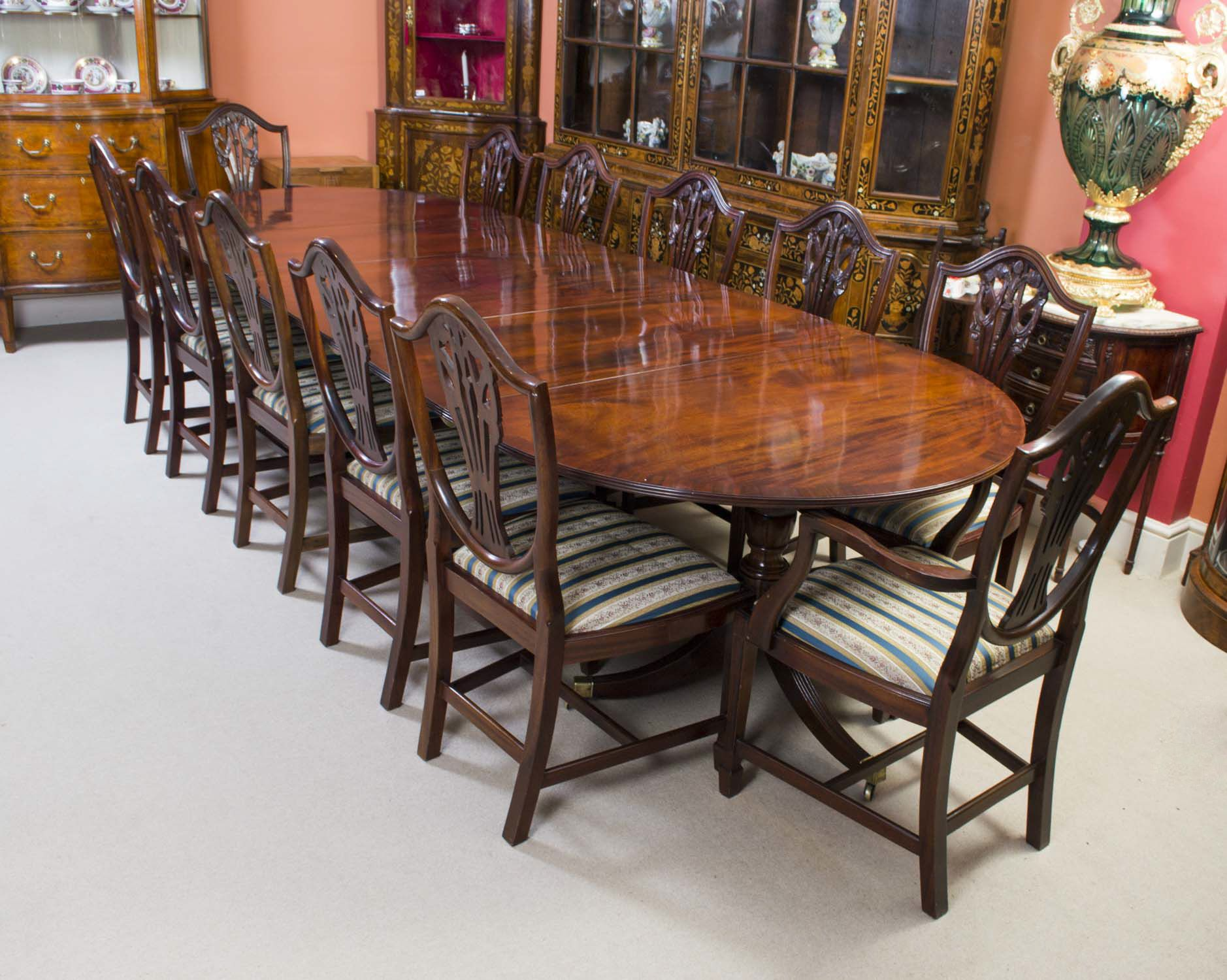 Antique Regency Dining Table & 12 Chairs c.1900 Large