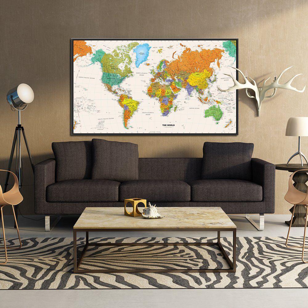 Kreative arts large size world map wall art black floater frame art