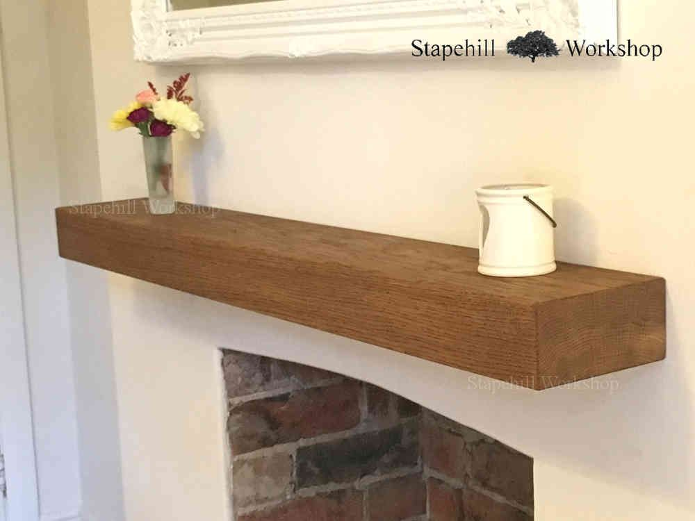 solid oak floating mantle shelf fireplace mantel shelves. Black Bedroom Furniture Sets. Home Design Ideas