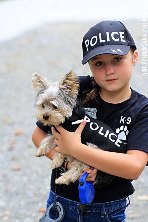 Diy Police Costume And K 9 Dog Halloween Costume Diy Costumes Kids Dog And Owner Costumes Dog Halloween Costumes
