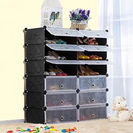 Multi Use Diy Plastic 12 Cube Shoe Rack Shoes Cabinet Black With White Door Bu Black Cabinet Cube Diy Door Multi Plastic Rackshoes S In 2020 Shoe Rack Cover