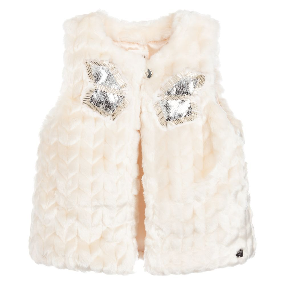 037c83ce705fec Girls Ivory Fur Gilet for Girl by Carrément Beau. Discover more beautiful  designer Coats   Jackets for kids online