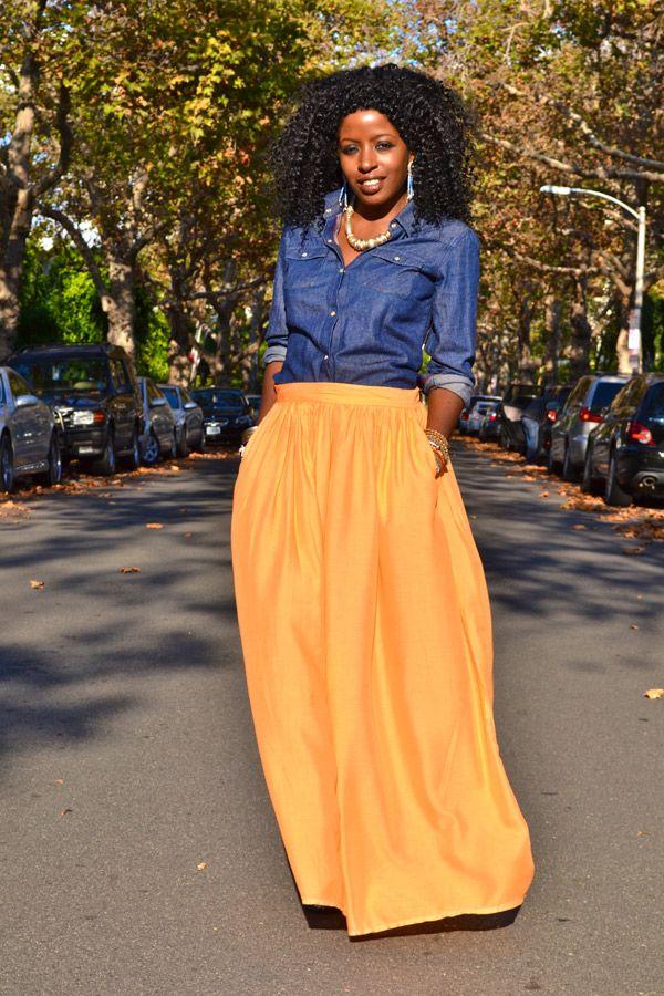 Denim Shirt And Long Skirt Images