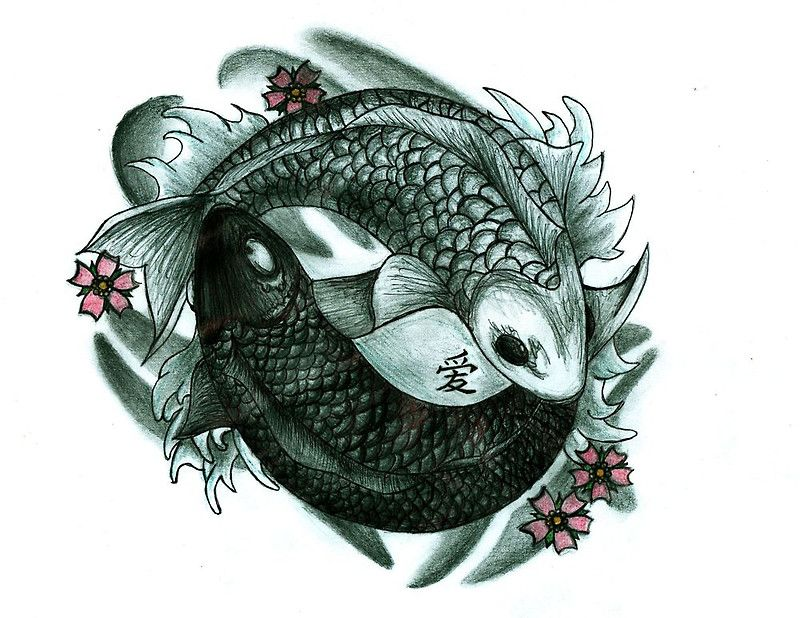 For justin but without the flowers koi fish yin and yang for Yin yang fish