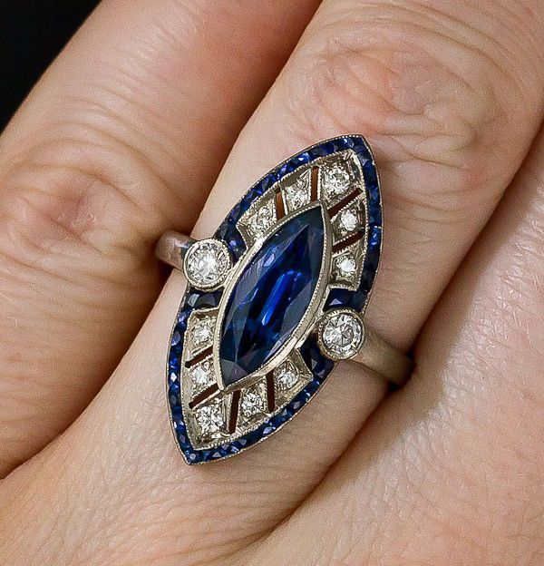 1.27 ct An Antique Vintage Diamond Engagement Ring Wedding Ring in 925 sterling silver,blue saphire Art deco Vintage ring