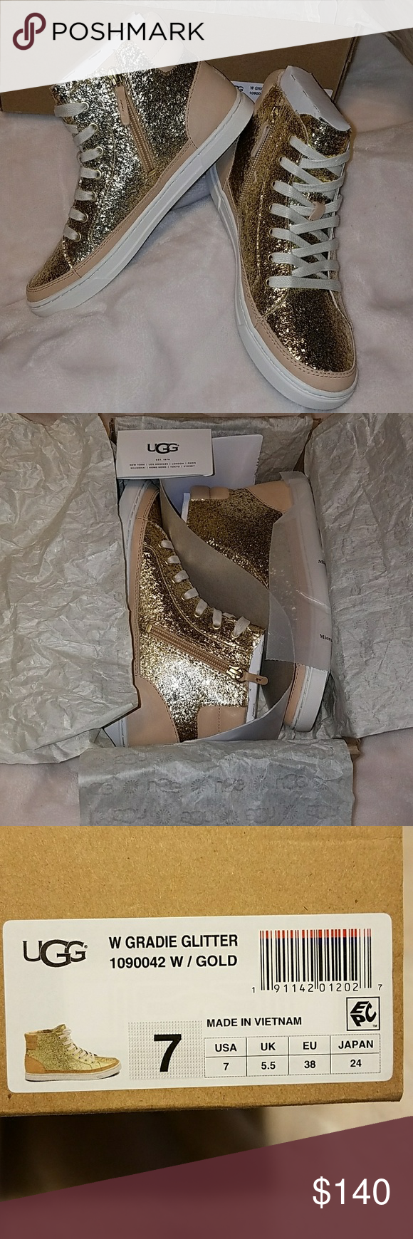 01b450de57f NEW 🌻 UGG Gradie Glitter Gold Sneakers See picture 8 for full ...