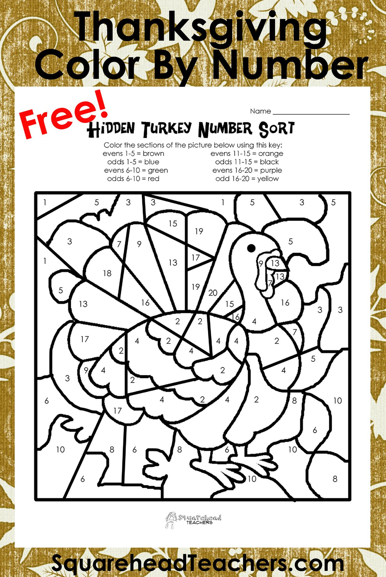 Odd/Even Turkeys (Free worksheet!) | Squarehead Teachers ...