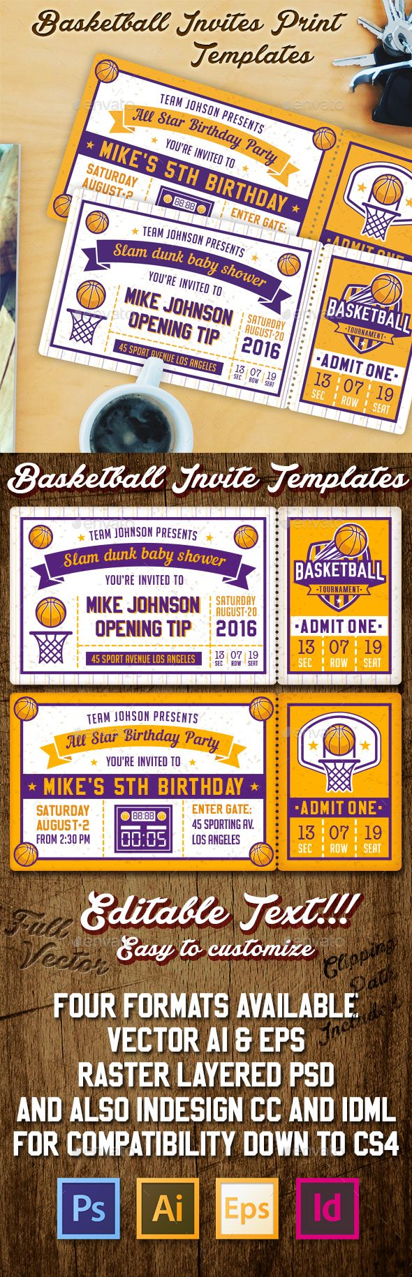 Basketball Invite Templates Invitations Cards &