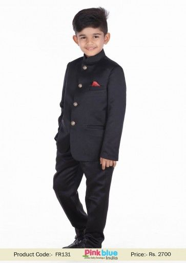 2b822b731 Royal Indian Jodhpuri Wedding Suits for Kids | Designer Boys Black Party Wear  Outfit & Dresses | Children Fashion Style