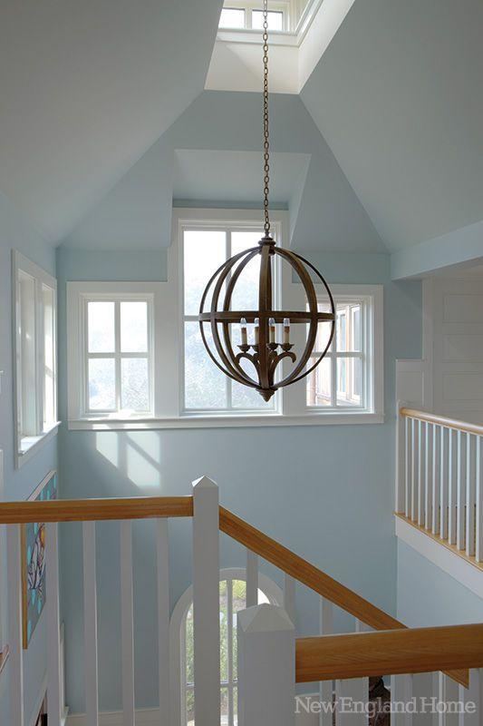 Orb Pendant Vaulted Stairway Skylight Hallway Foyer