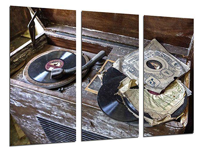 Wandbild - Bild Plattenspieler Vintage, Vinyl-Schallplatten, Musik