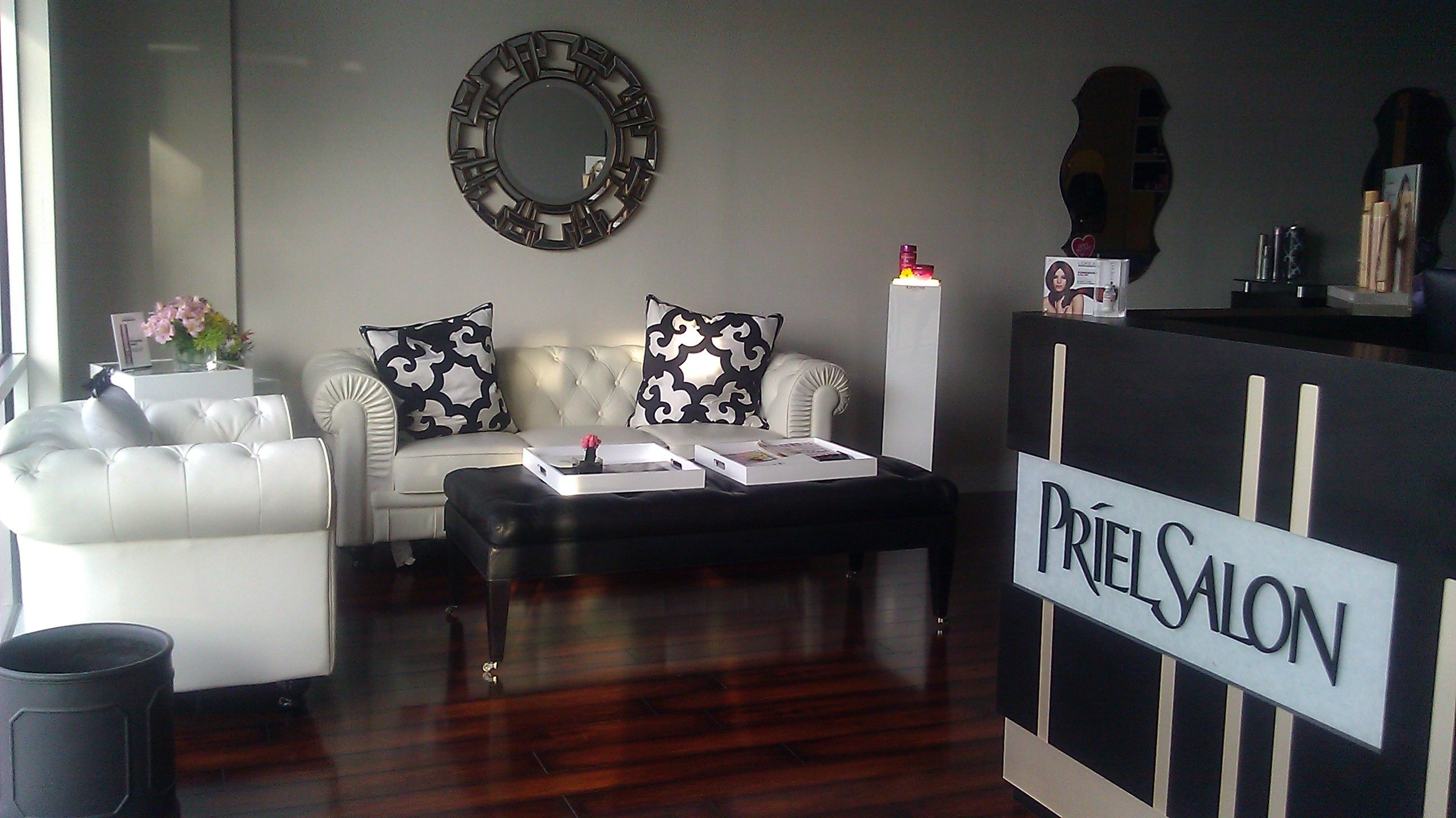 beauty salon waiting area chairs just and tables priel front desk prielsalon