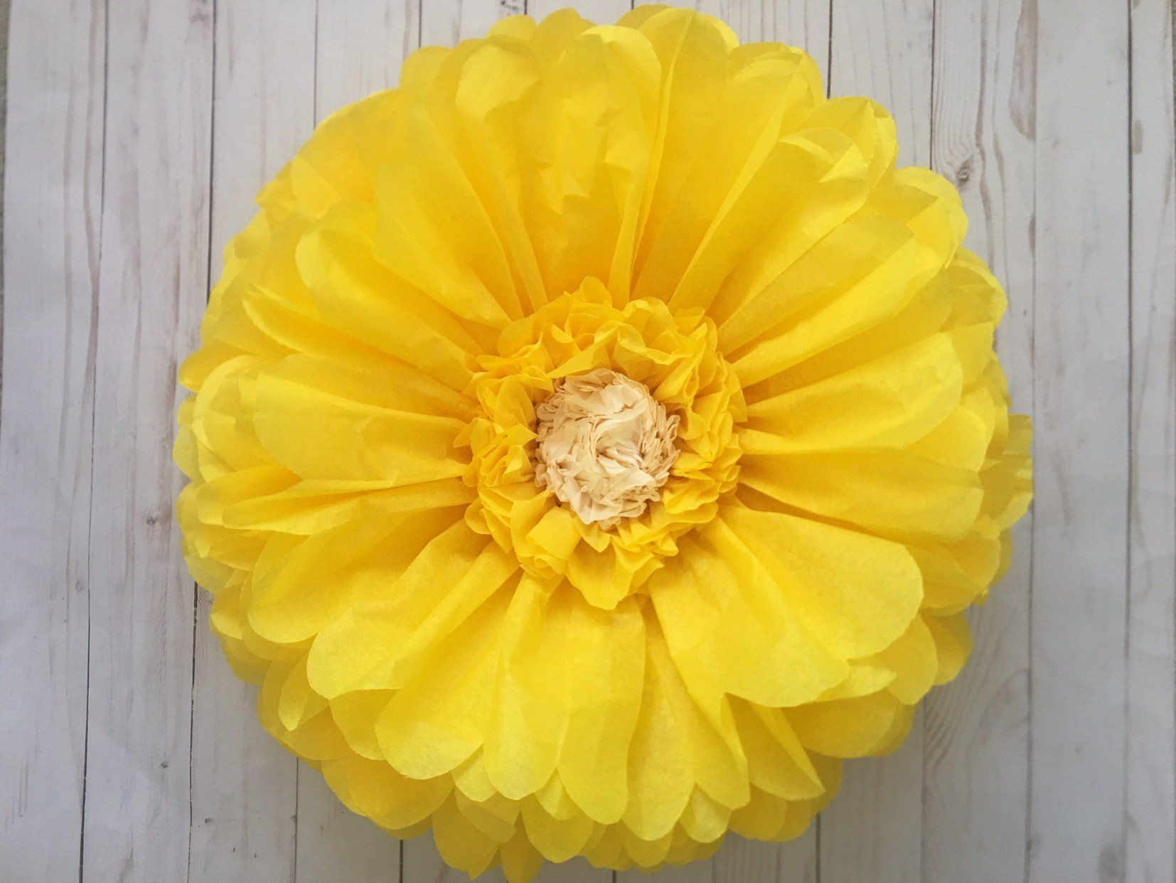 Large Yellow Paper Flower For Home Decor Wall Art And Party