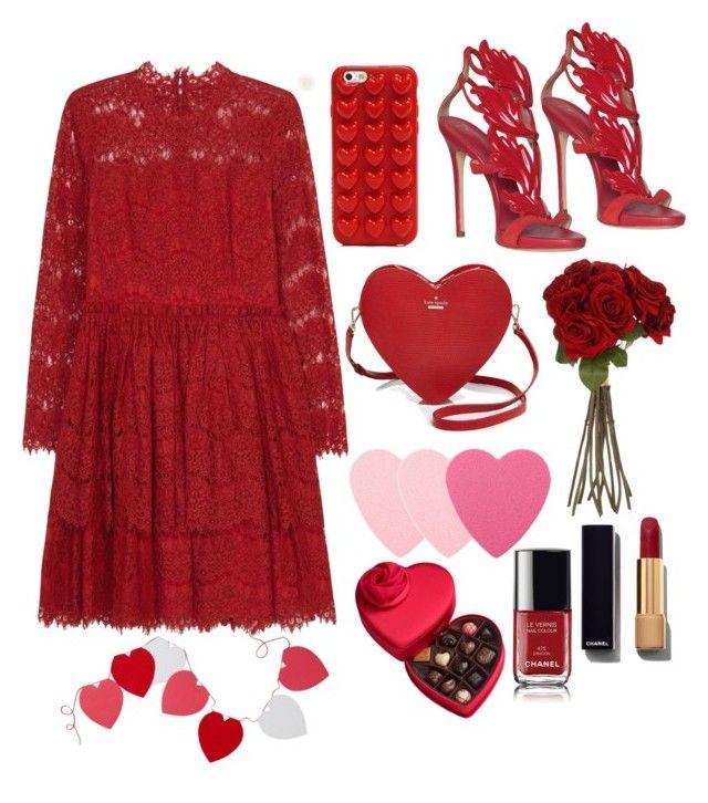 """Valentine's day"" by mercantichiara on Polyvore featuring moda, Lanvin, Giuseppe Zanotti, Kate Spade, Marc Jacobs, Sia, Sephora Collection, Chanel, Godiva e Levtex"