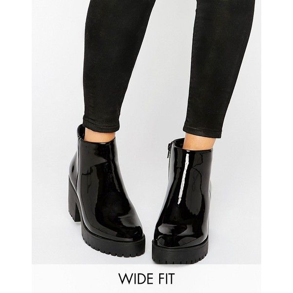 New Look Wide Fit Chunky Patent Faux