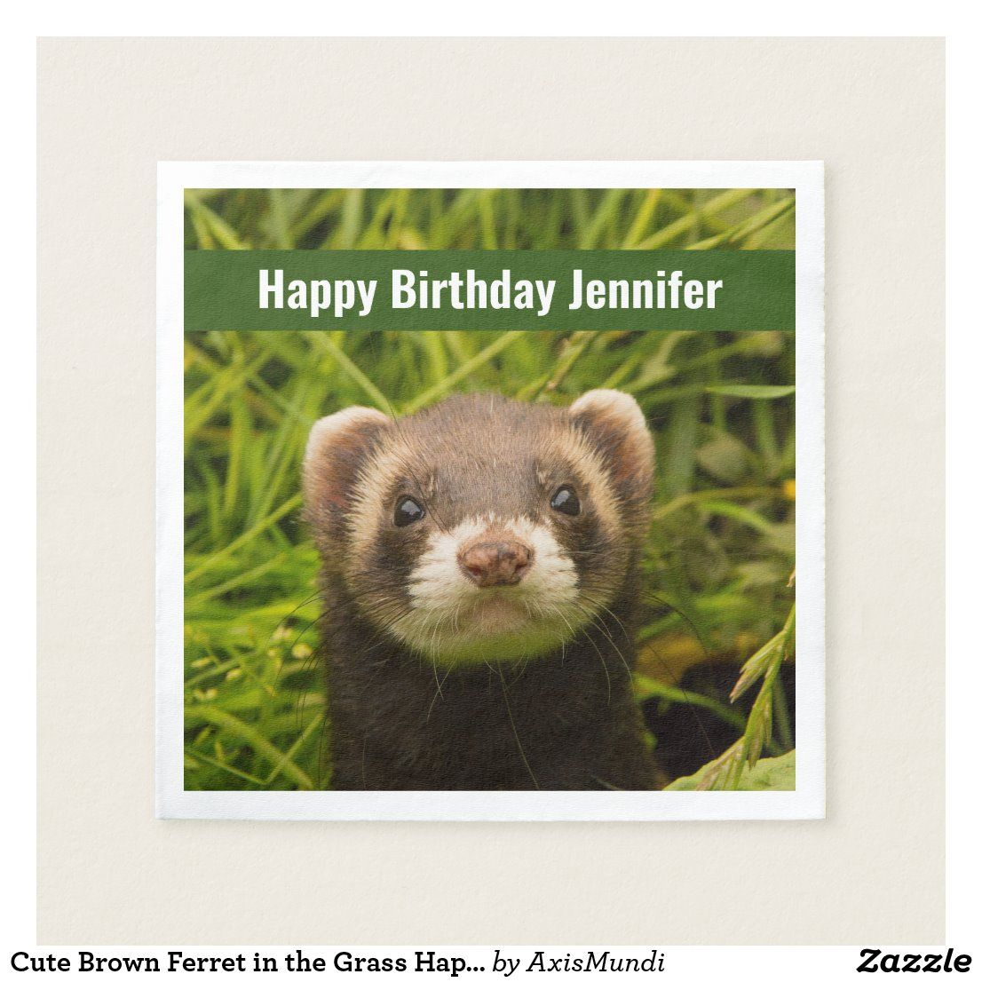 Cute brown ferret in the grass happy birthday napkins