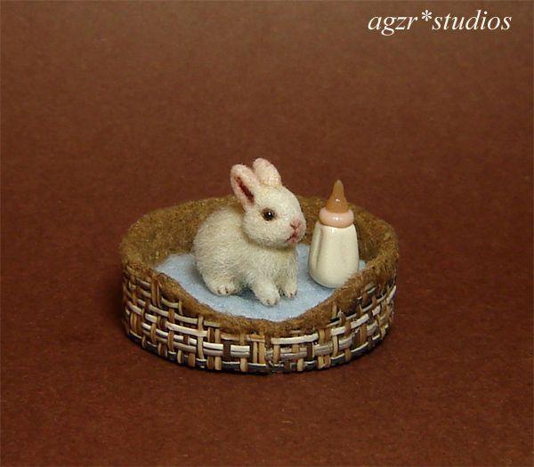 OOAK 1:12 Dollhouse Miniature Rabbit Bunny & Bed Furred Pet Handmade Realistic